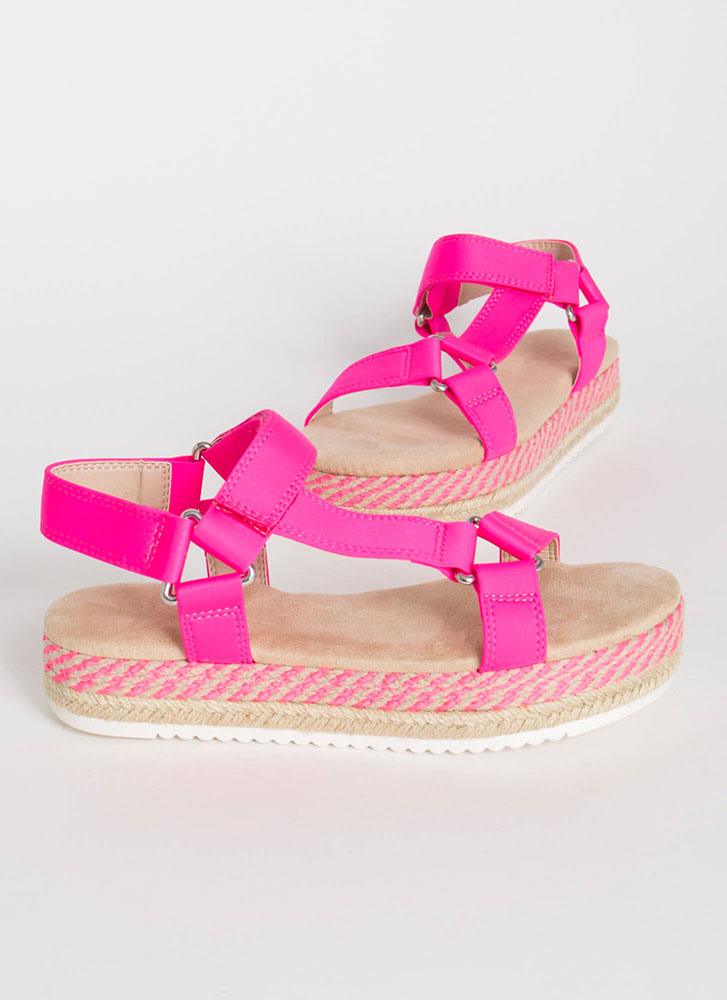 Harness Your Luck Woven Platform Sandals PINK