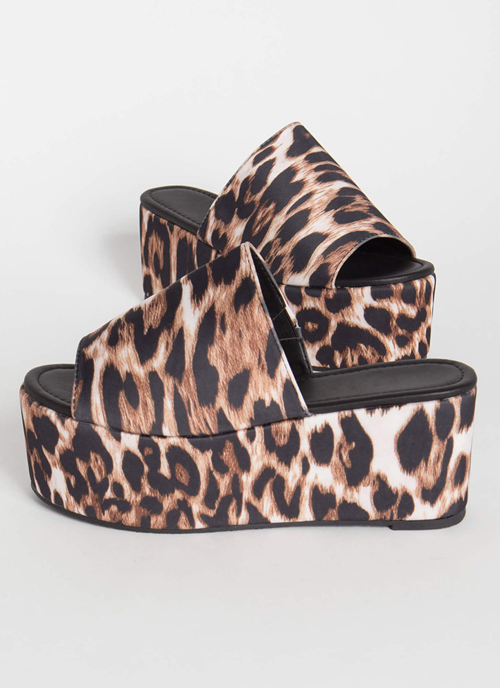 Slide Into My Leopard Wedge Sandals WHITE