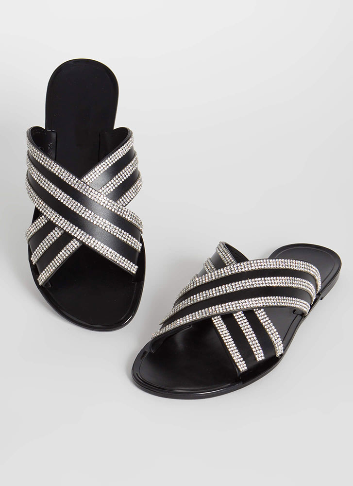 X Factor Rhinestone Jelly Slide Sandals BLACK