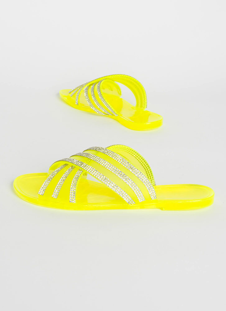 X Factor Rhinestone Jelly Slide Sandals LIME