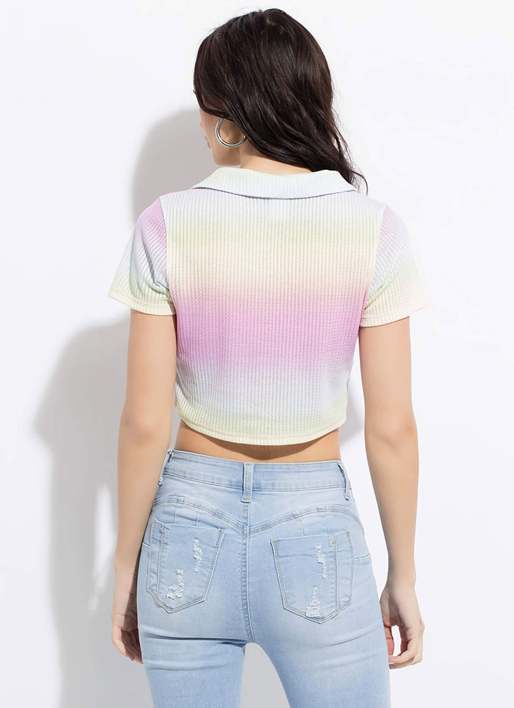 Tie-Dye Job Collared Zip-Front Crop Top MULTI