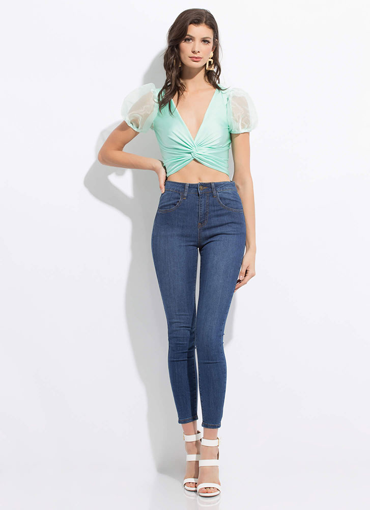 Cute Twist Knotted Puff Sleeve Crop Top MINT