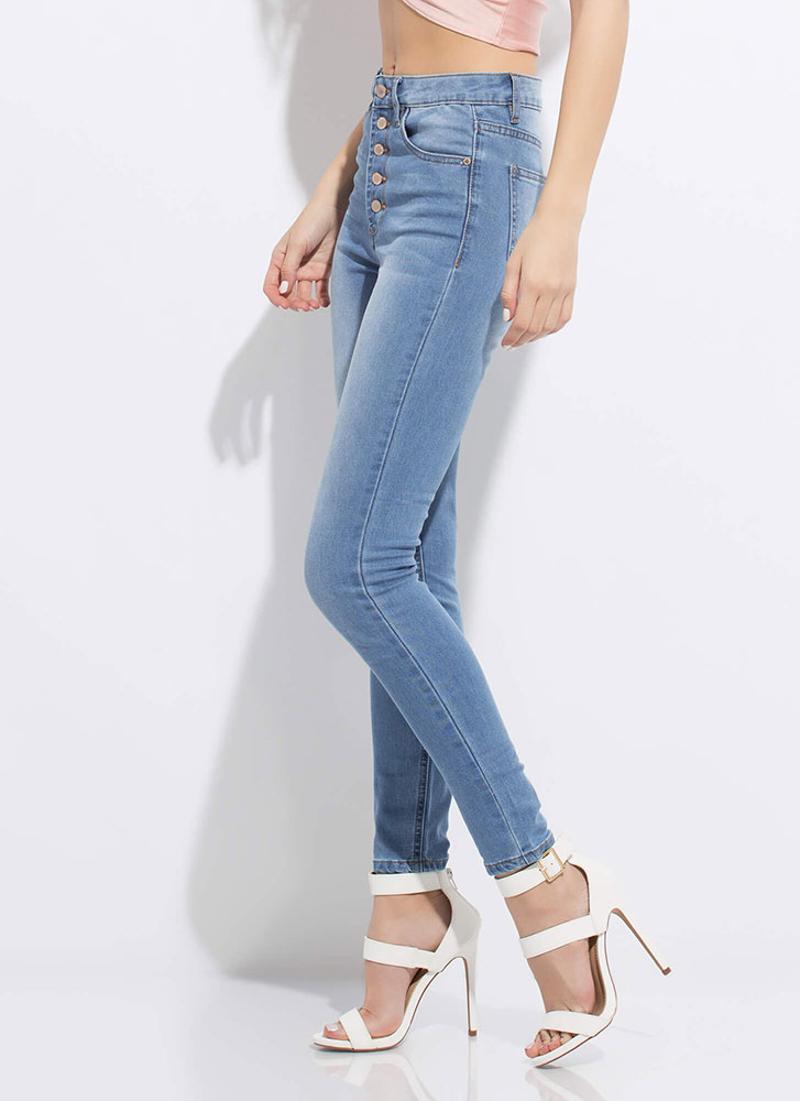 Gimme Five Button-Fly Skinny Jeans MEDBLUE