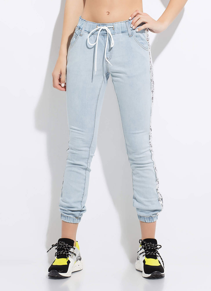 You'll Shine Sequined Jogger Jeans LTBLUE