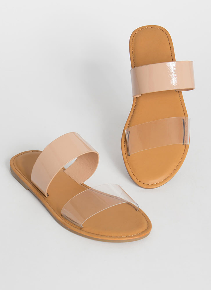 Two Cute Clear Strap Slide Sandals CLEAR