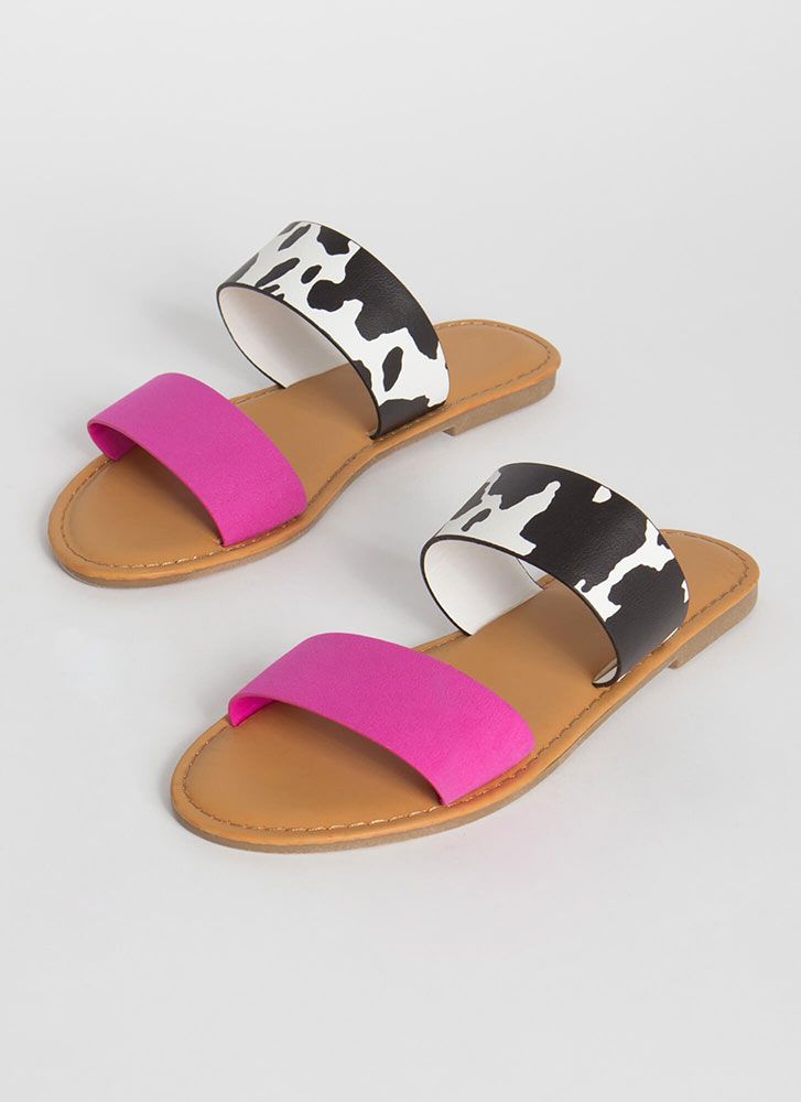 Two Cute Cow Print Slide Sandals HOTPINK