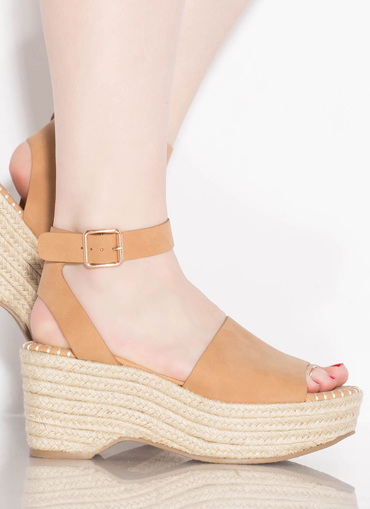 Boardwalk Braided Faux Nubuck Wedges CAMEL