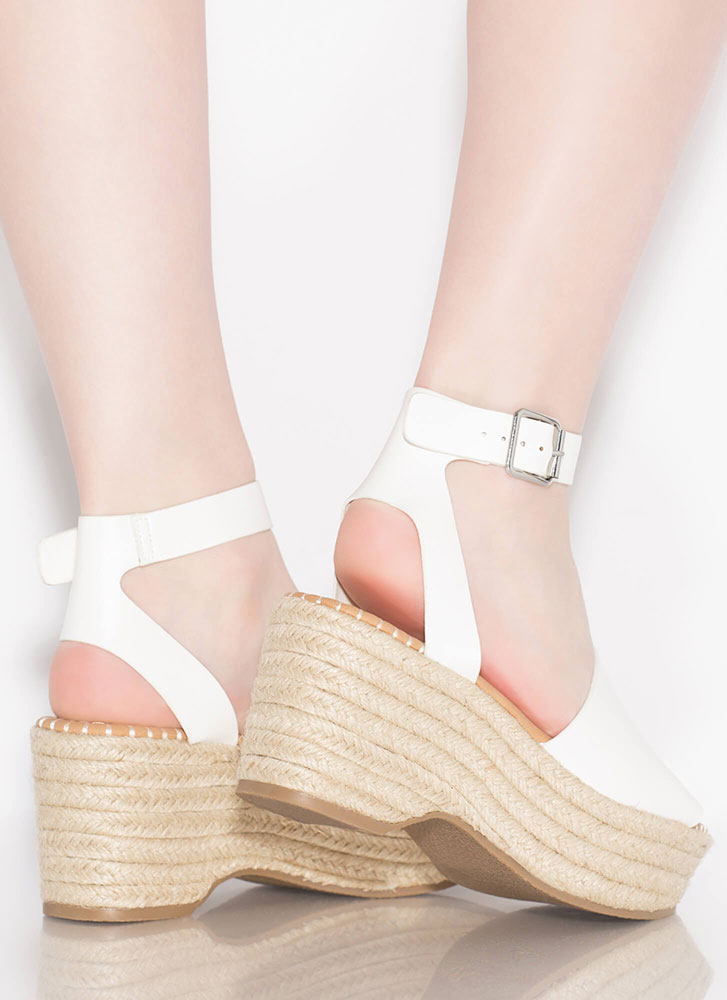 Boardwalk Braided Faux Leather Wedges WHITE