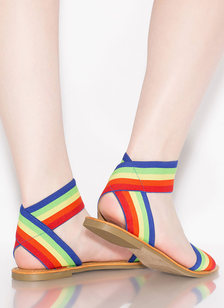 Stripe Up The Band Rainbow Sandals RAINBOW