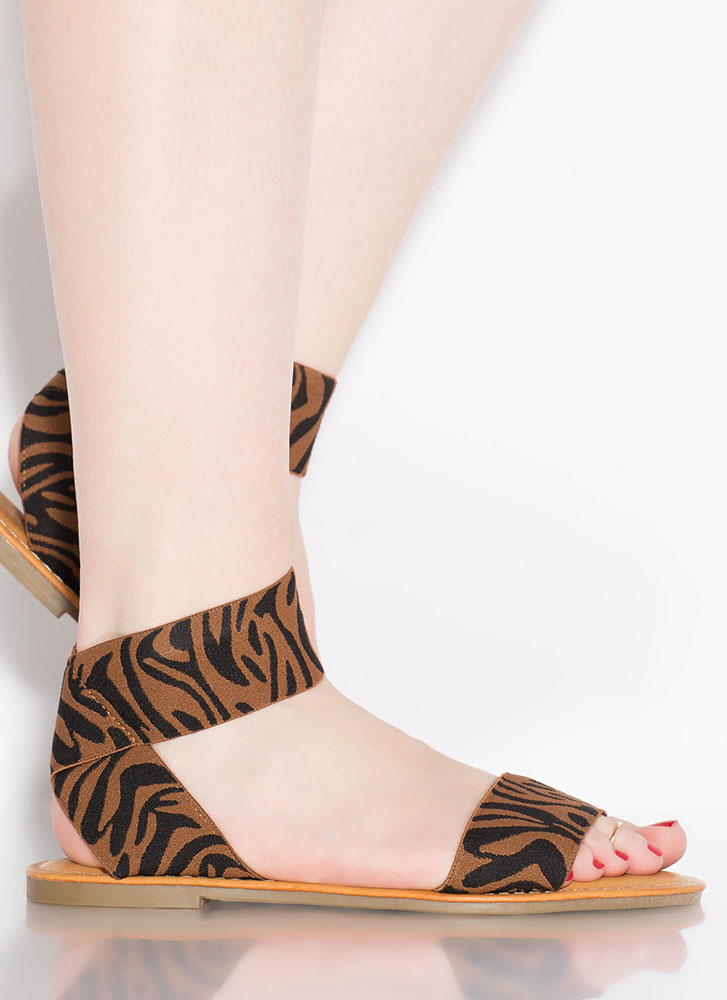 Stripe Up The Band Tiger Print Sandals TIGER