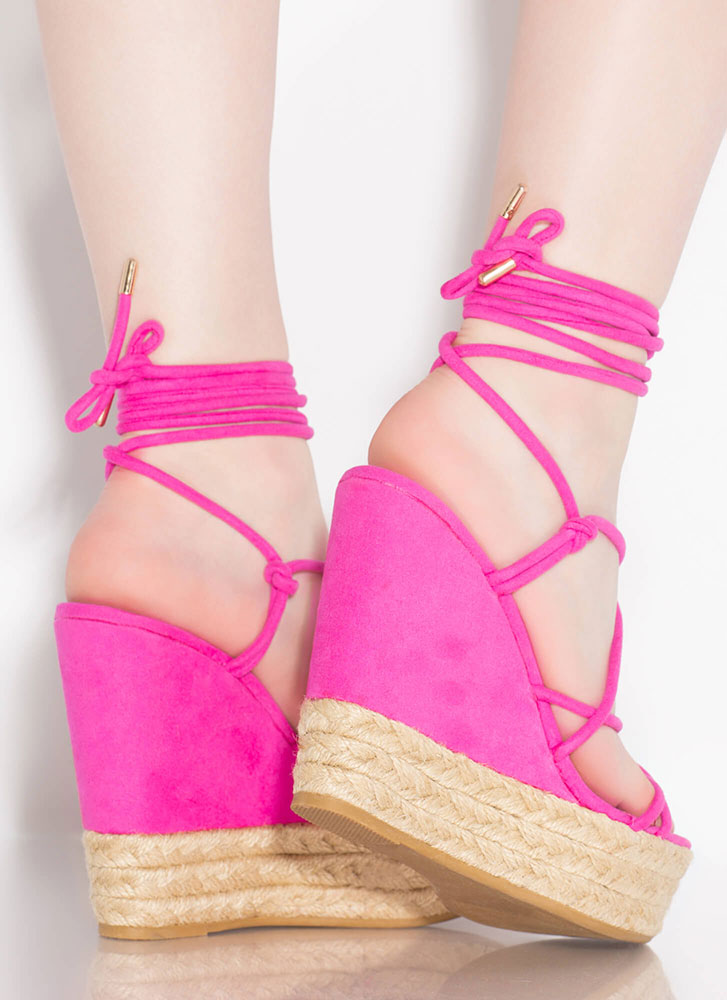 New Girl Lace-Up Braided Platform Wedges HOTPINK