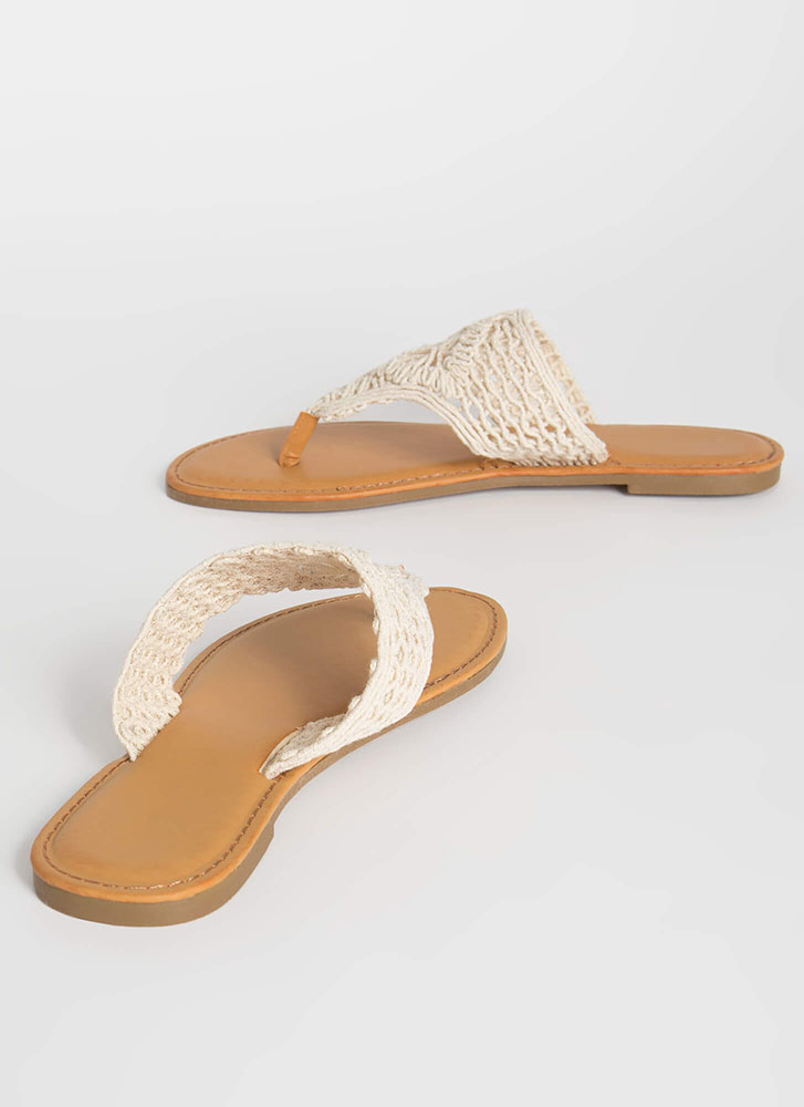Bohemian Chic Knit Thong Sandals IVORY