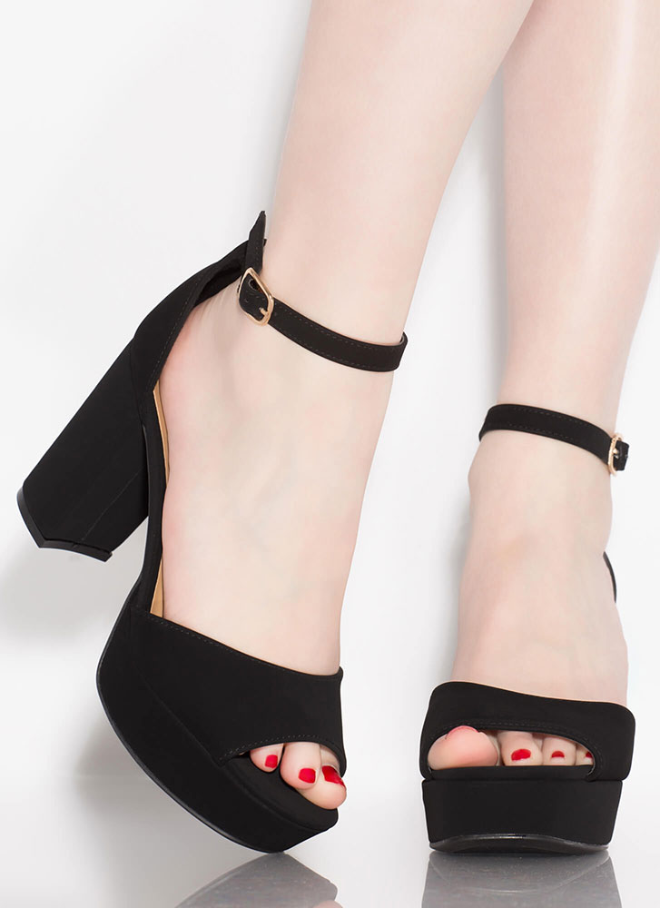 Daily Chunky Faux Nubuck Platform Heels BLACK (Final Sale)
