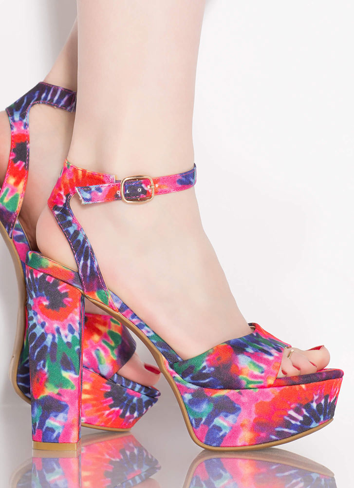Color Theory Chunky Tie-Dye Platforms HOTPINK