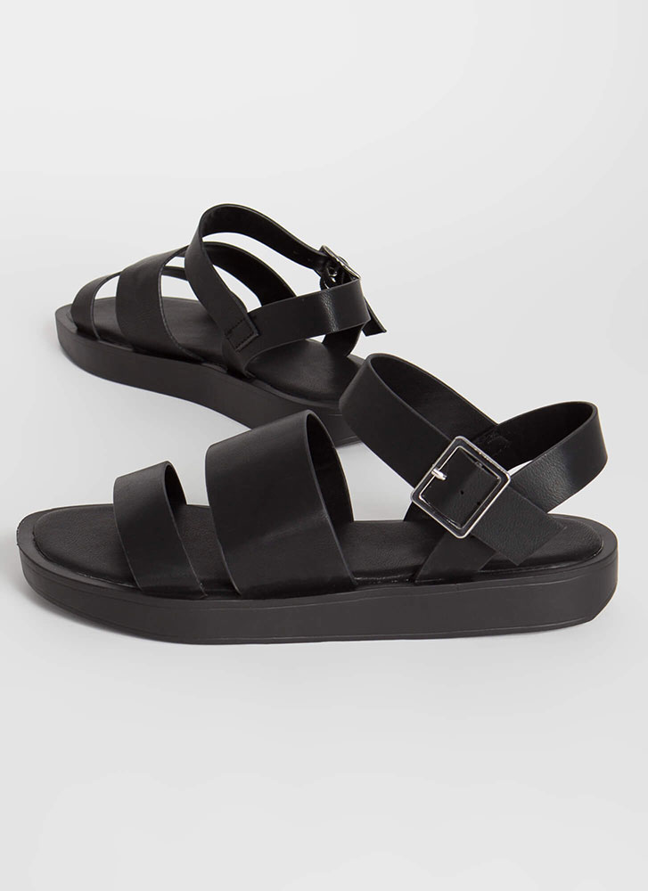 Strappy Sidekick Faux Leather Sandals BLACK
