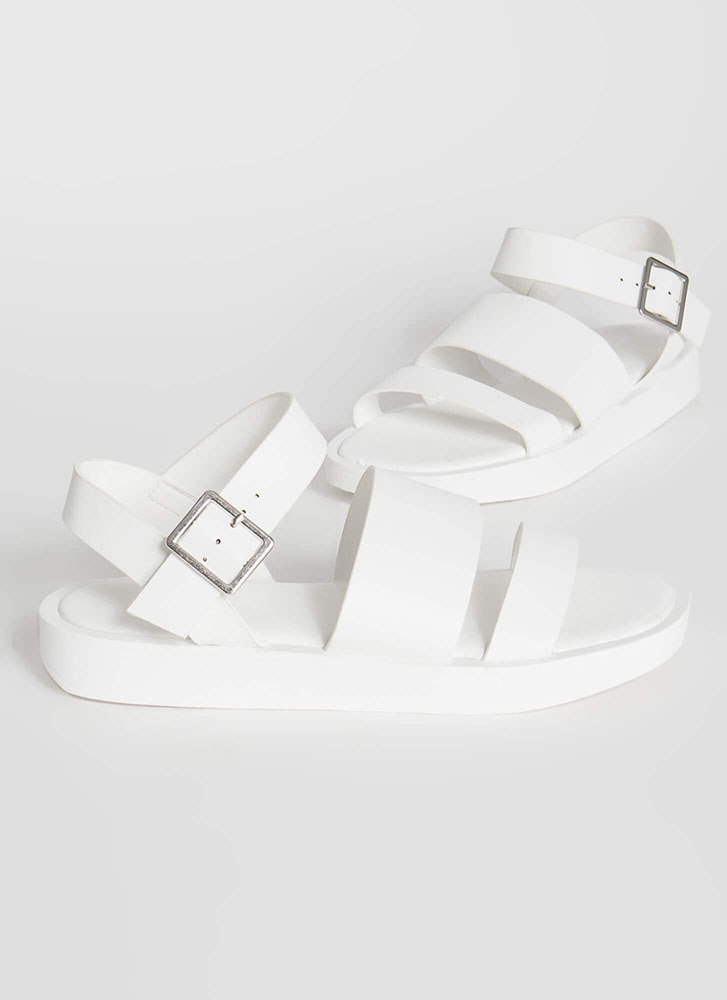 Strappy Sidekick Faux Leather Sandals WHITE