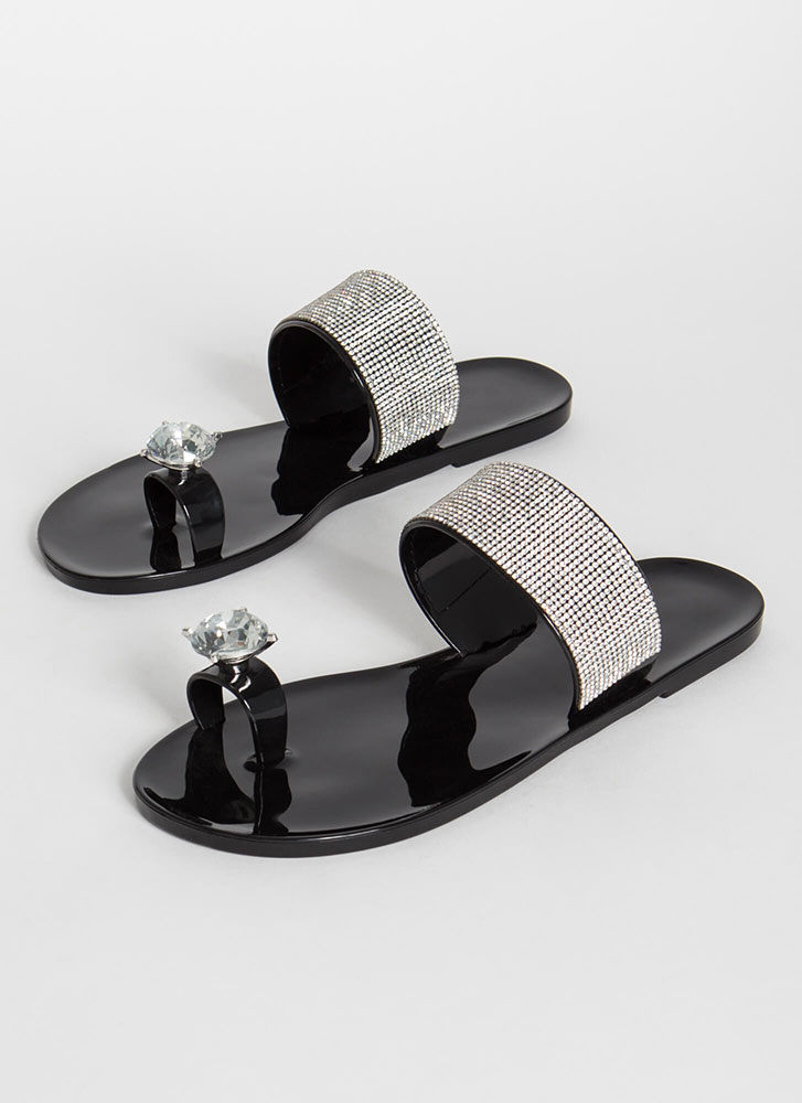 Put A Bling On It Jeweled Jelly Sandals BLACK