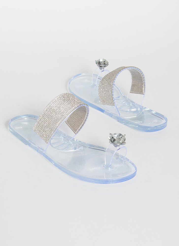 Put A Bling On It Jeweled Jelly Sandals CLEAR