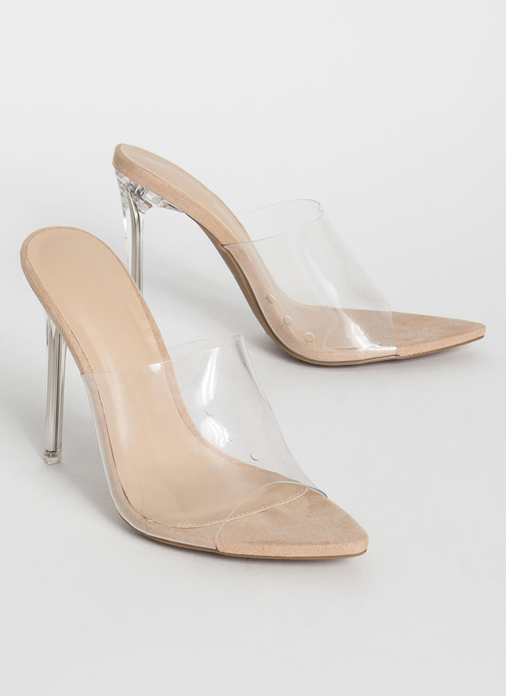 Clear A Path Peep-Toe Mule Heels NATURAL