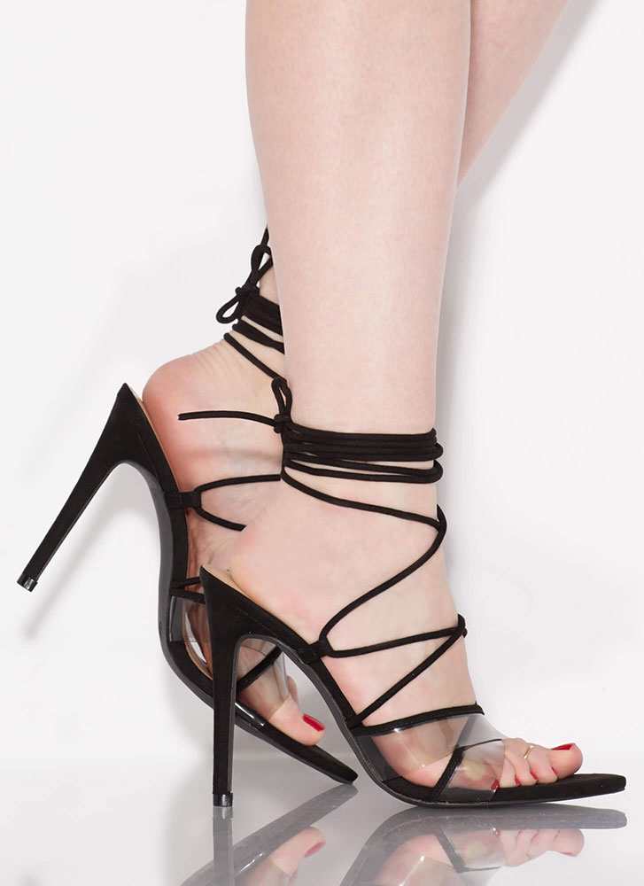 Gorgeous Clear Strap Lace-Up Heels BLACK