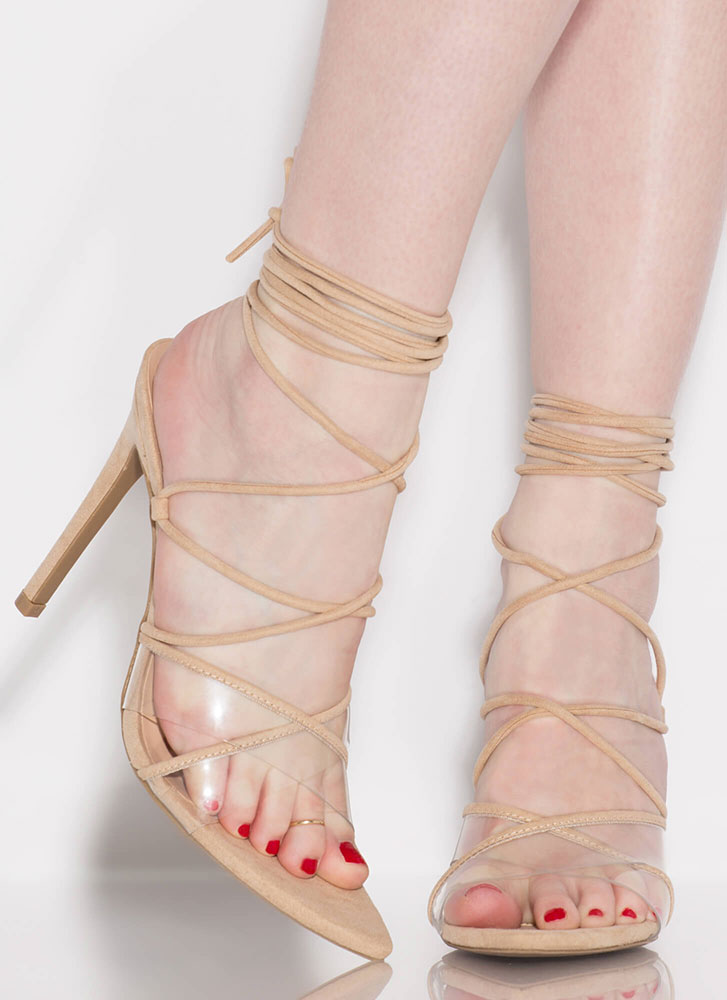 Gorgeous Clear Strap Lace-Up Heels NATURAL