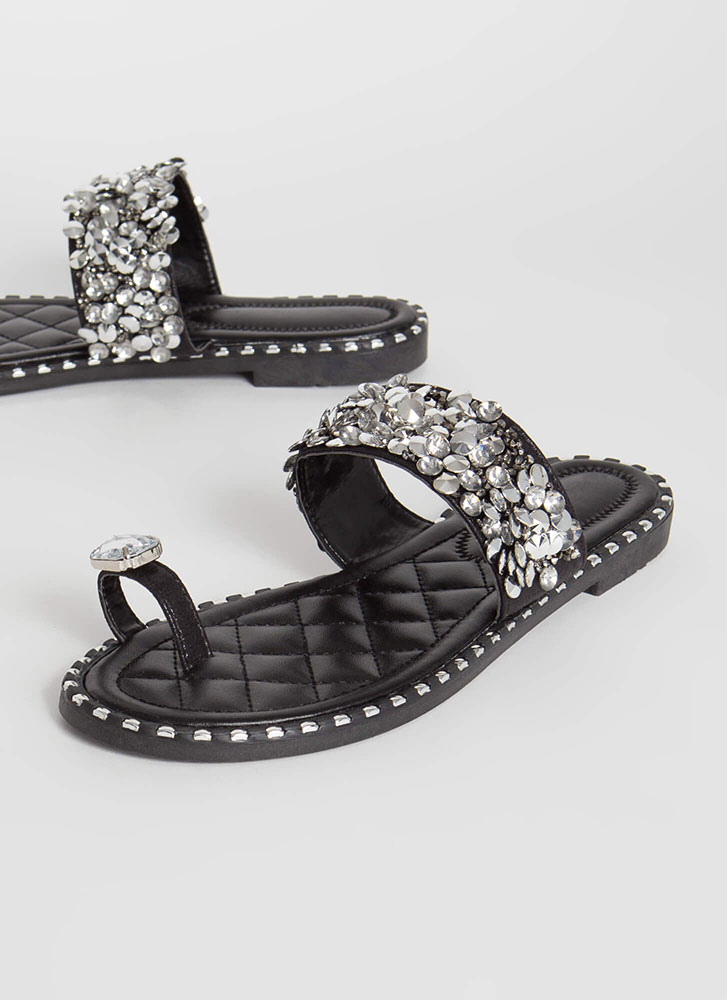 So Extra Studded Jeweled Quilted Sandals BLACK