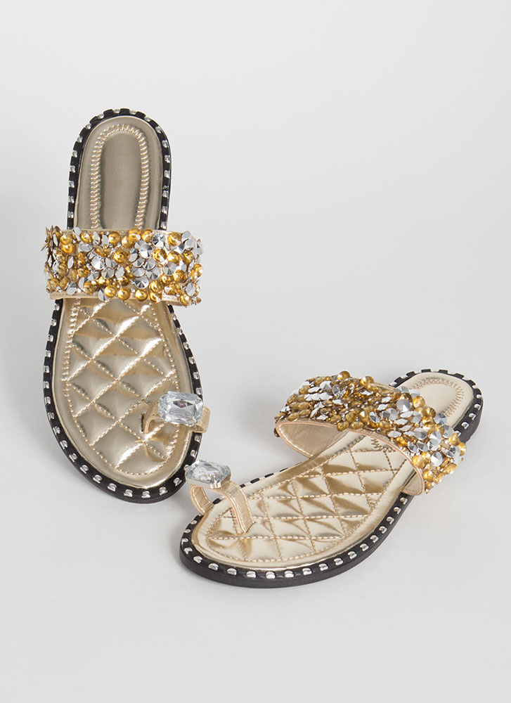 So Extra Studded Jeweled Quilted Sandals GOLD