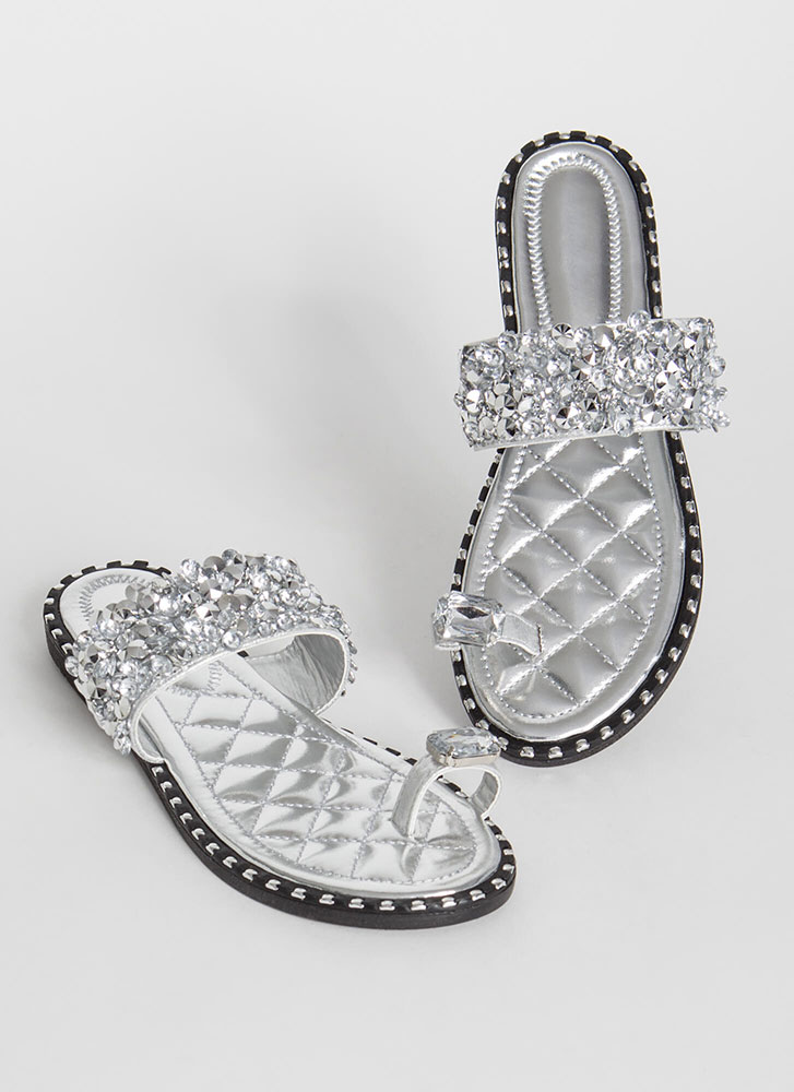So Extra Studded Jeweled Quilted Sandals SILVER