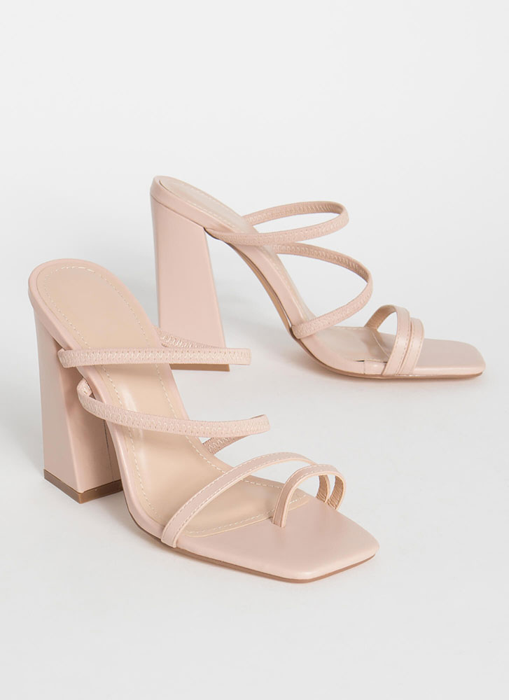 Some Kind Of Strappy Chunky Heels NUDE