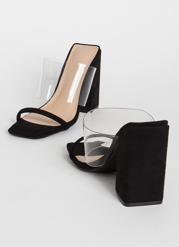 Architecture Clear Illusion Block Heels BLACK