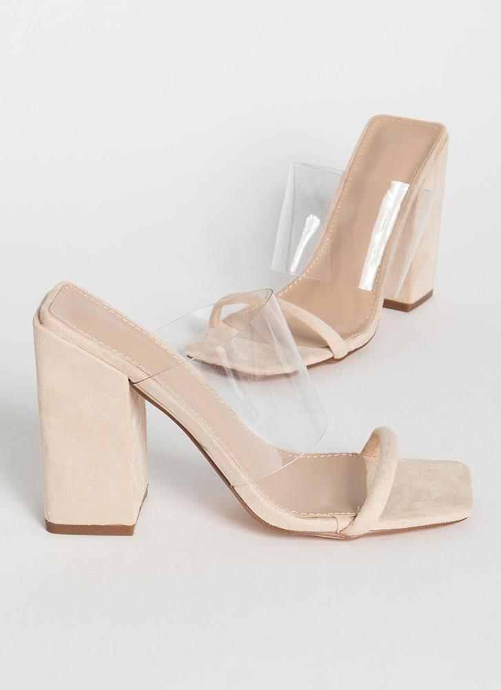 Architecture Clear Illusion Block Heels NUDE