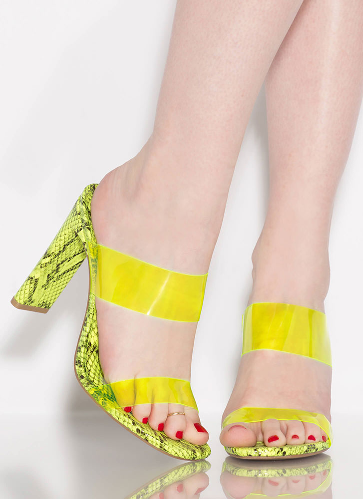 Snake Myself Clear Strappy Mule Heels NYELLOW