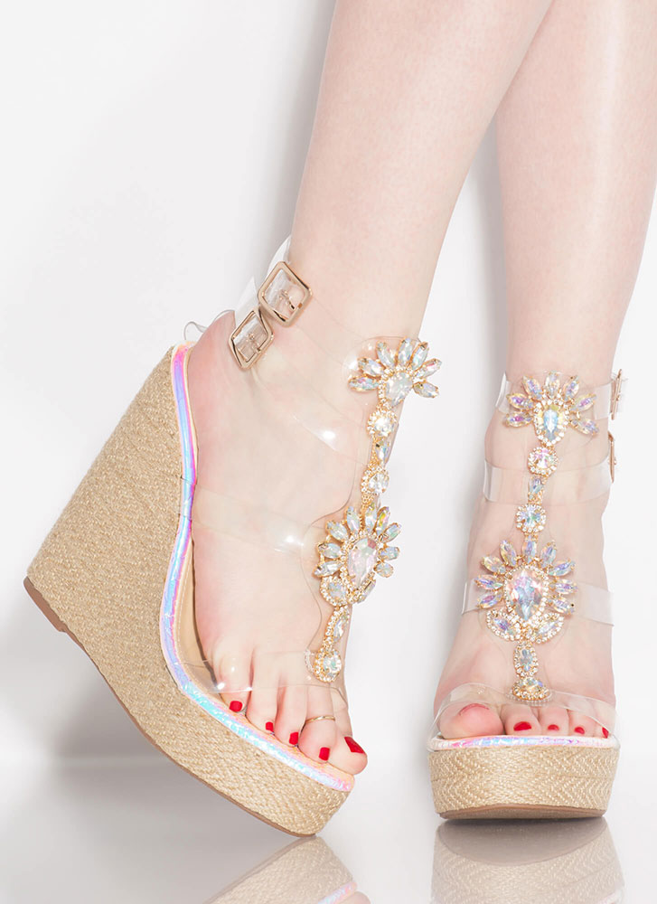 Clearly Gorgeous Jeweled Mermaid Wedges PINK
