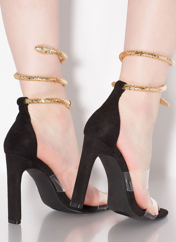 Snake Attack Coiled Clear Strap Heels BLACK