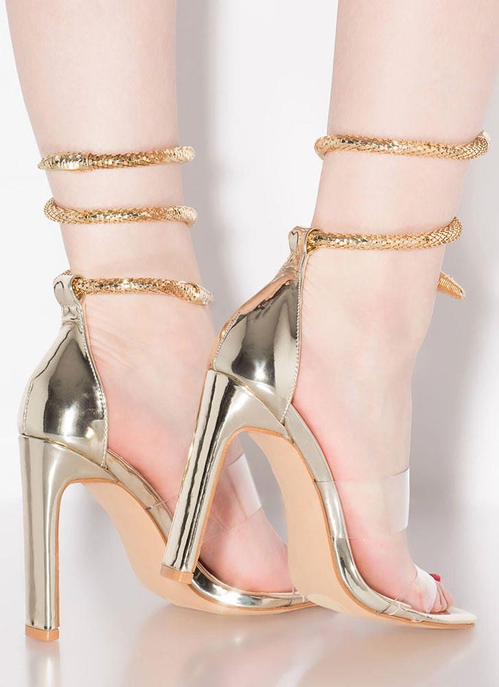 Snake Attack Coiled Clear Strap Heels GOLD