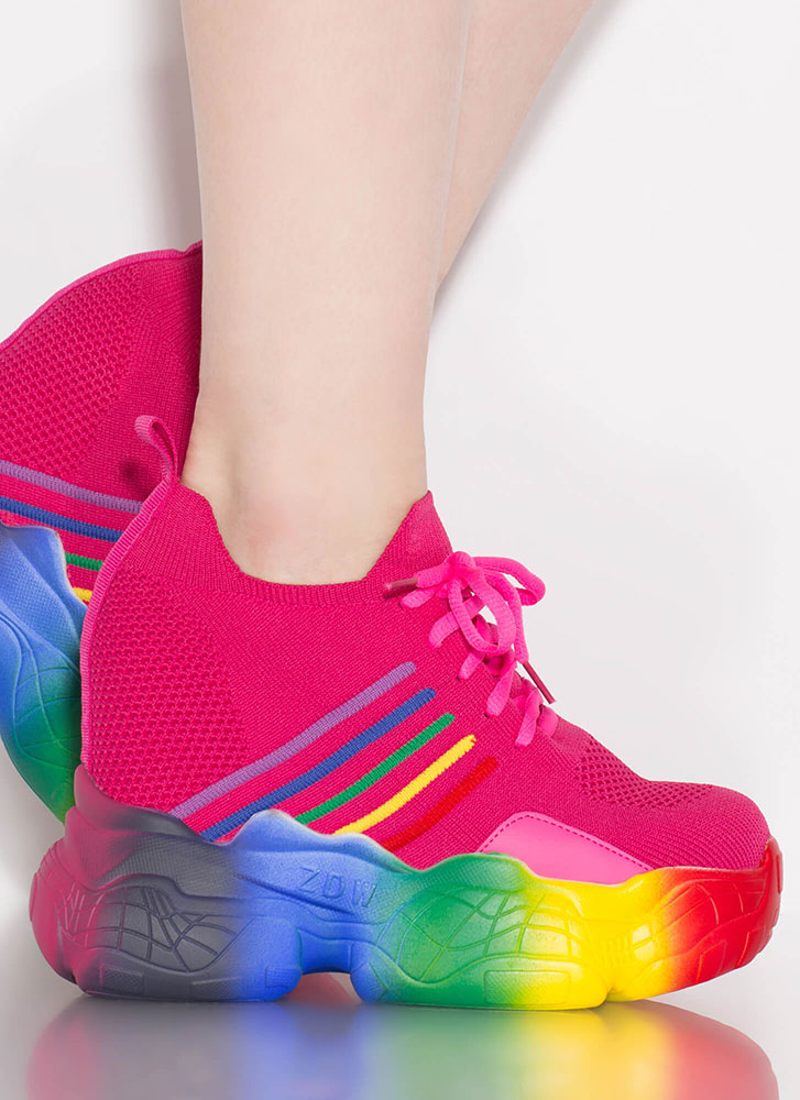 Leading Rainbow Knit Wedge Sneakers PINK