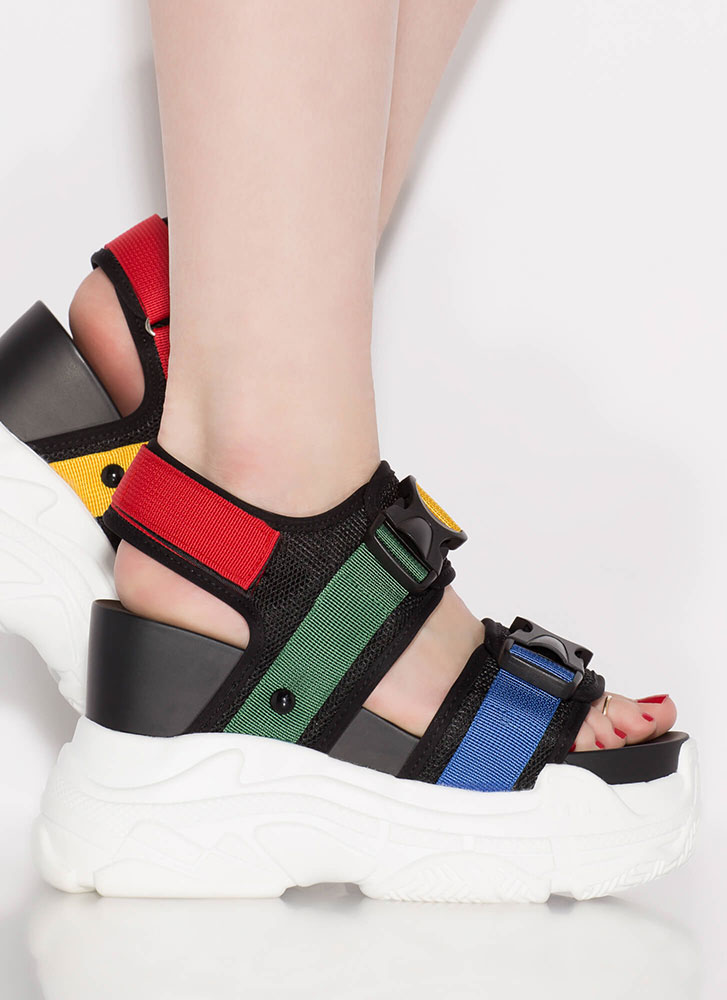 Hit Play Buckle Colorblock Wedge Sandals MULTI