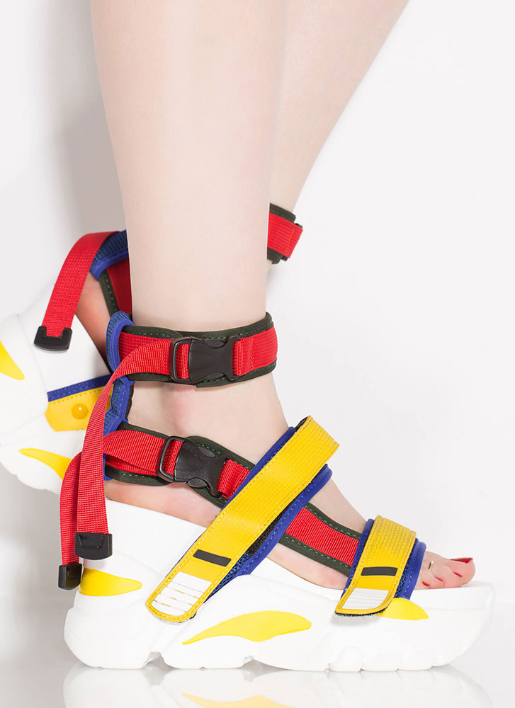 Straps And Buckles Sporty Wedge Sandals YELLOW