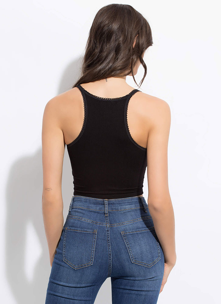 How Sweet Cropped Bow-Front Tank Top BLACK