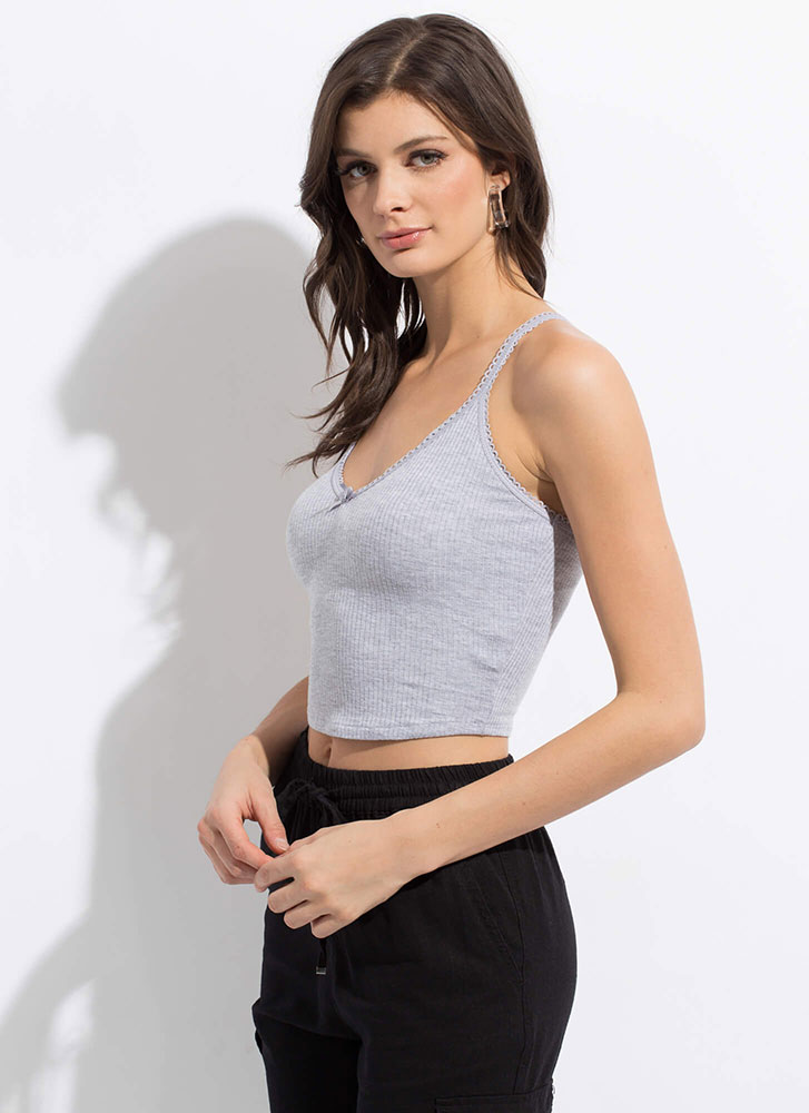How Sweet Cropped Bow-Front Tank Top HGREY