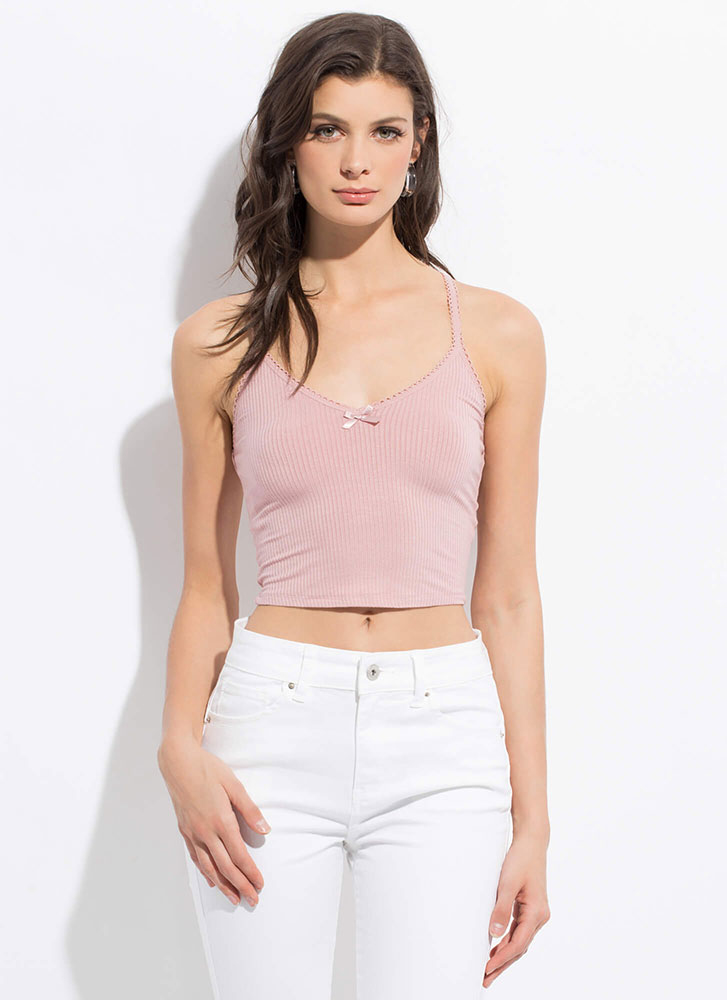 How Sweet Cropped Bow-Front Tank Top ROSE