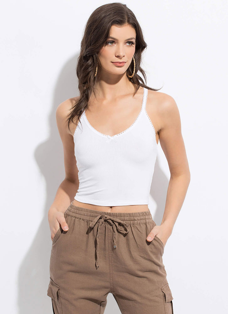 How Sweet Cropped Bow-Front Tank Top WHITE