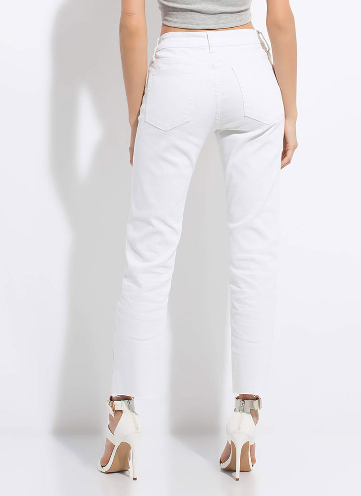Keep It Straight-Leg Button-Fly Jeans WHITE