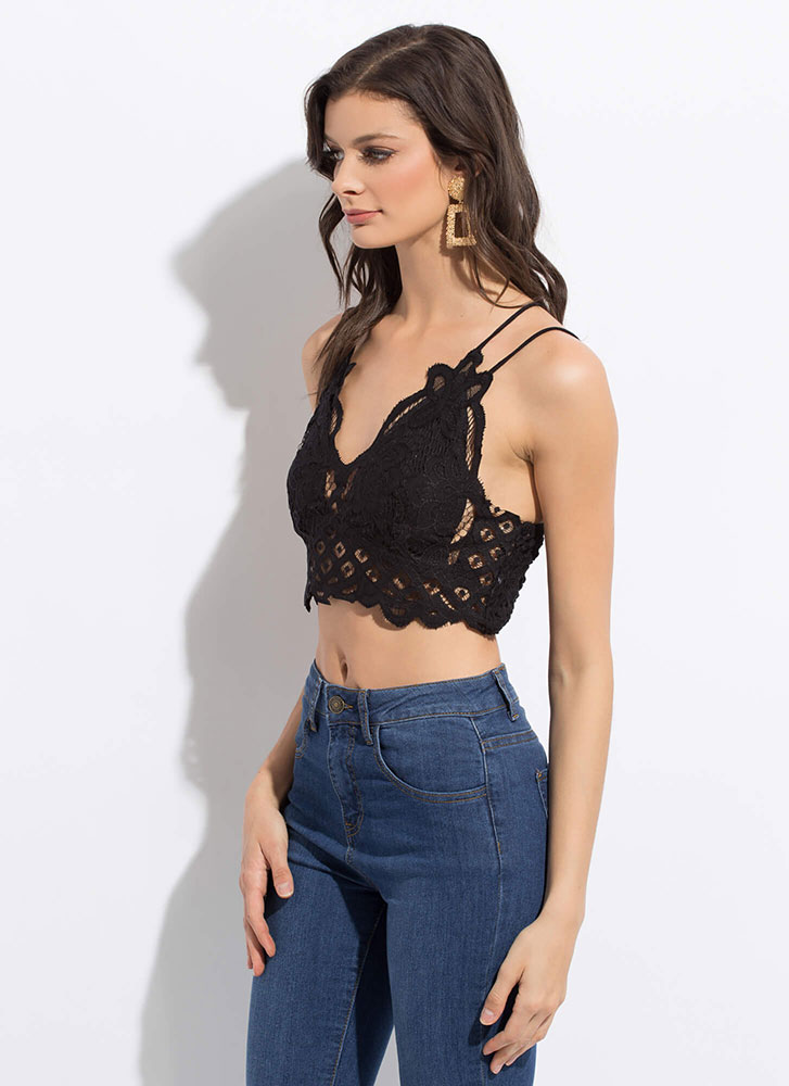 All Eyelets On You Floral Lace Crop Top BLACK