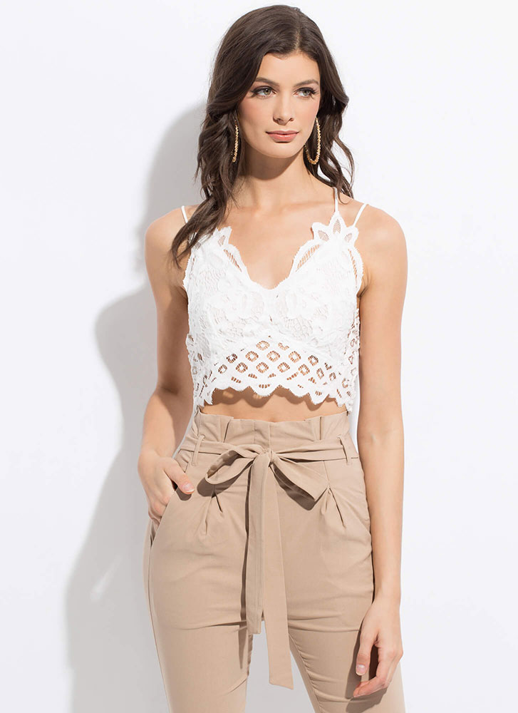 All Eyelets On You Floral Lace Crop Top WHITE