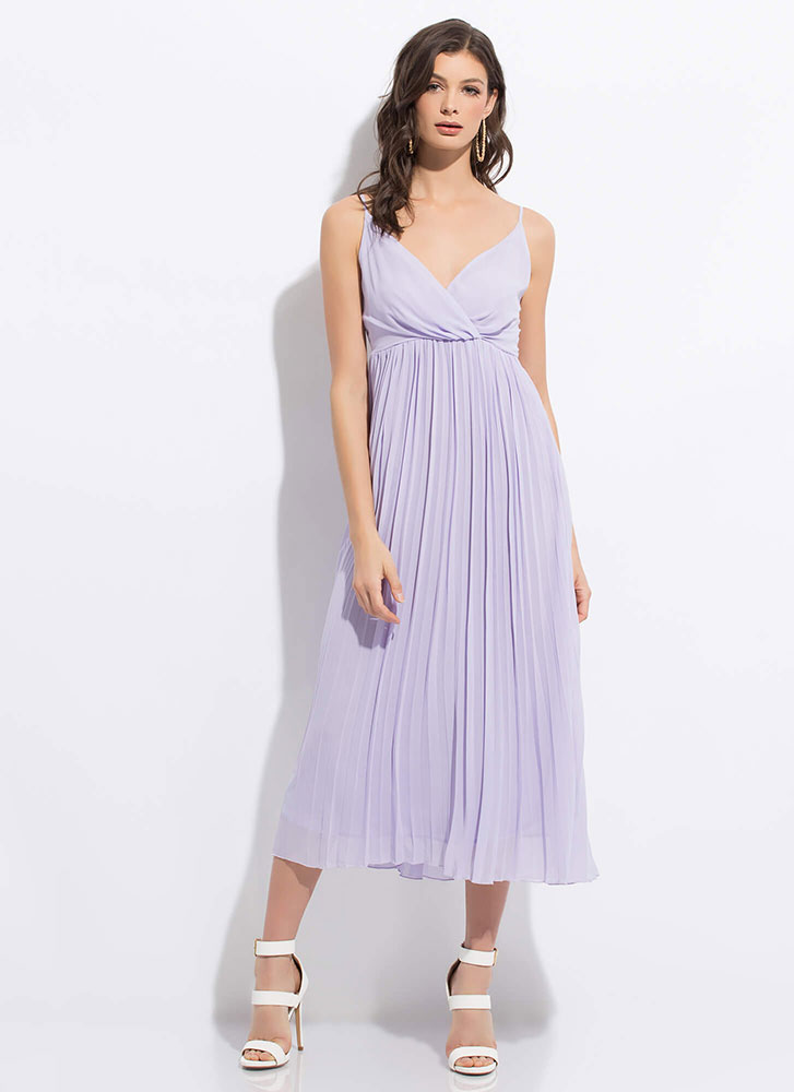 Clothing Empire Flowy Pleated Maxi Dress LAVENDER