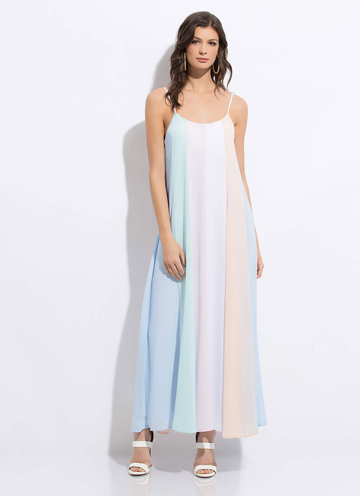 Go With The Flowy Colorblock Maxi Dress MINT