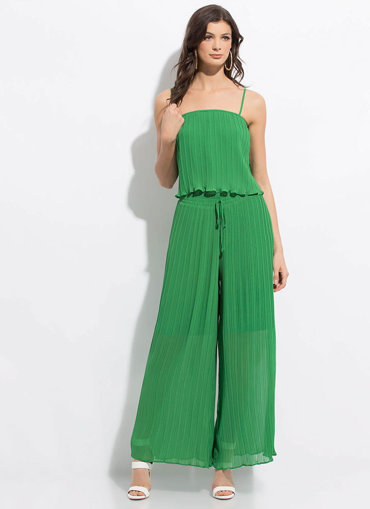 Pretty Pleats Extra Wide Palazzo Pants GREEN