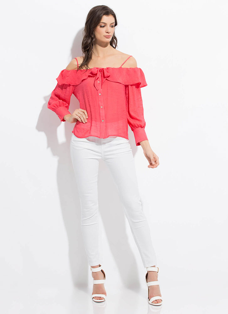 Sweetie Ruffled Cold-Shoulder Blouse CORAL