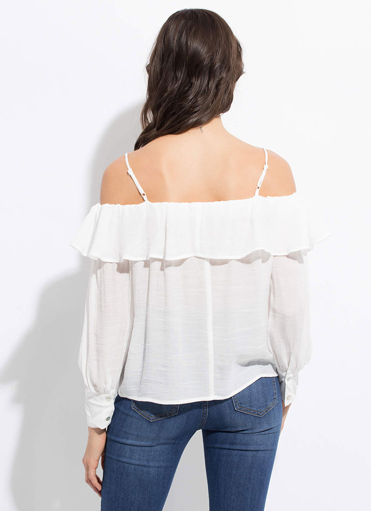 Sweetie Ruffled Cold-Shoulder Blouse OFFWHITE